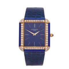 Patek Philippe Vintage Lapis Lazuli 18 Karat Yellow Gold 3727 Wristwatch