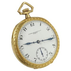 Patek Philippe Vintage Yellow Gold Fancy Chased Case Porcelain Dial Pocket Watch