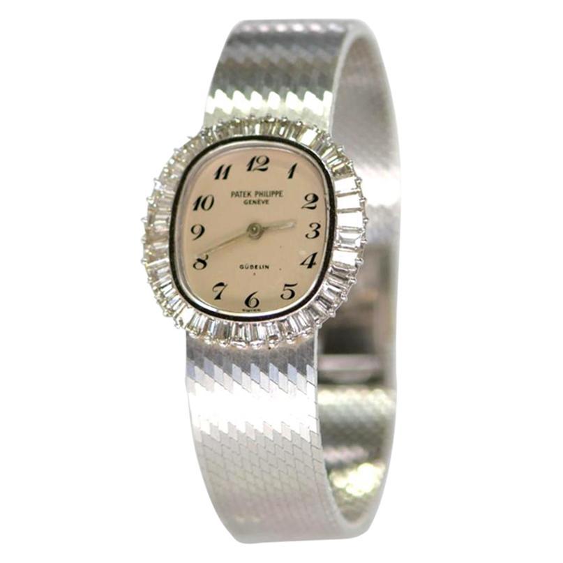 Patek Philippe White Gold Baguette Diamond Bracelet Manual Wind Watch 'Ref 4138'