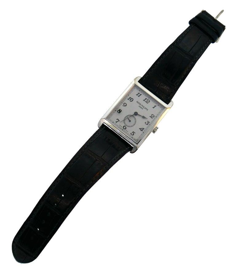 Women's or Men's Patek Philippe White Gold Manual Wind Wristwatch For Sale