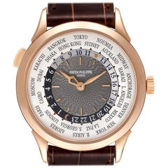 Patek Philippe World Time Complications Rose Gold Watch 5230R Box Papers