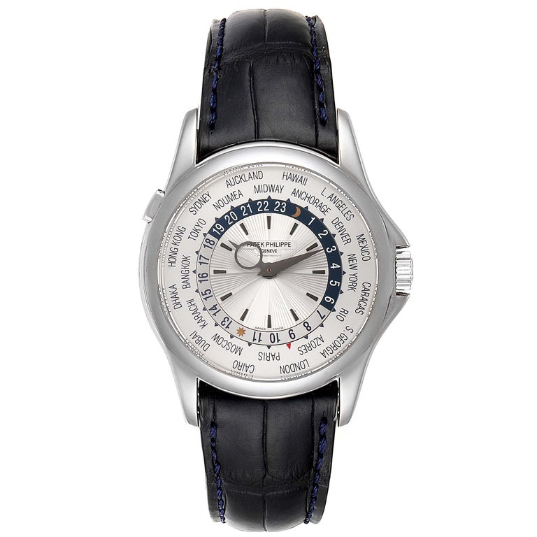 Patek Philippe World Time Complications White Gold Mens Watch 5130. Automatic self-winding movement. Nickel lever movement, stamped with the PP seal, mono-metallic balance, 22k gold micro-rotor . 18k white gold case 39.5 mm in diameter. Crown with