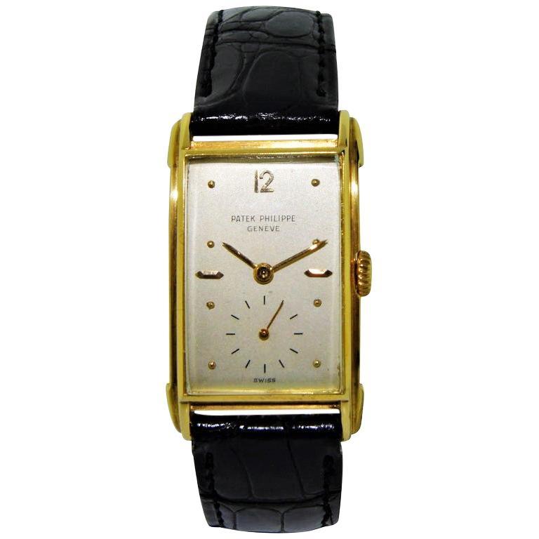 Patek Philippe Yellow Gold Art Deco Manual Watch, circa 1948