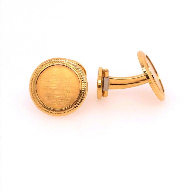 Patek Philippe 18K Yellow Gold Calatrava Cufflinks.  Stamped: Patek Philippe Geneve Swiss, PPCo, 750