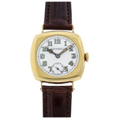 Patek Philippe Yellow Gold Cushion Wristwatch with Enamel Dial