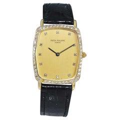 Patek Philippe Yellow Gold Diamond Bezel Tortue Quartz Dress Watch