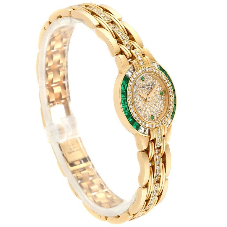 Patek Philippe Yellow Gold Diamond Emerald Ladies Watch 4786 In Excellent Condition For Sale In Atlanta, GA