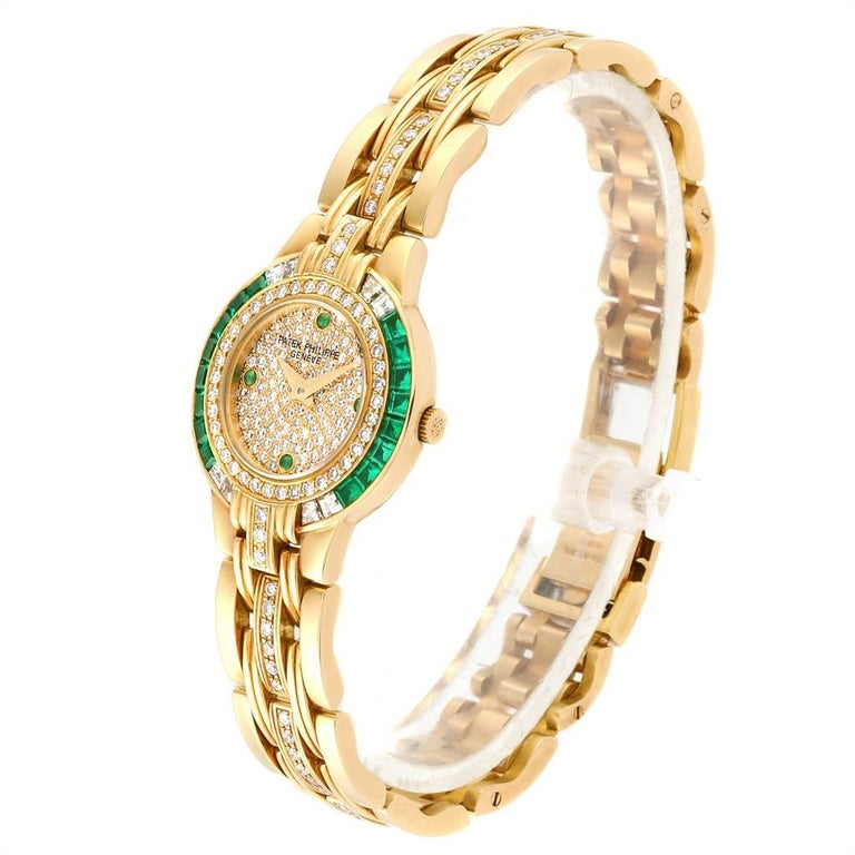 Women's Patek Philippe Yellow Gold Diamond Emerald Ladies Watch 4786 For Sale