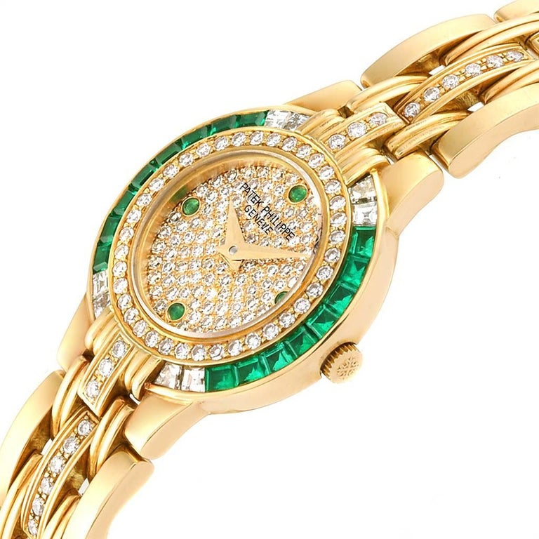 Patek Philippe Yellow Gold Diamond Emerald Ladies Watch 4786 For Sale 1