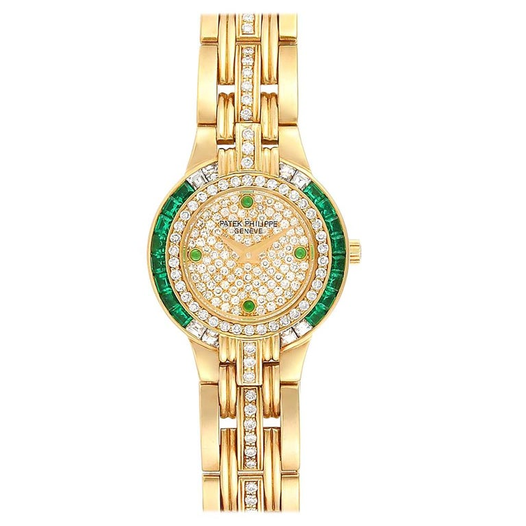 Patek Philippe Yellow Gold Diamond Emerald Ladies Watch 4786 For Sale