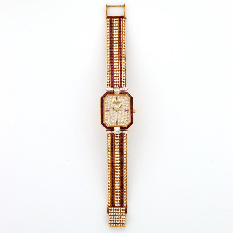 Modern Patek Philippe Yellow Gold Ruby and Diamond Watch Ref. 3994 For Sale