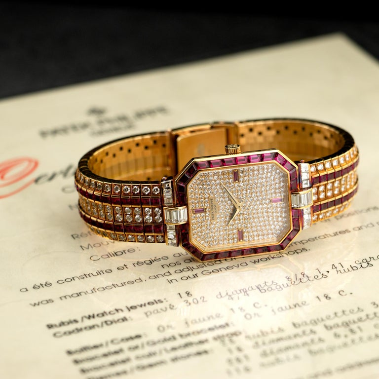 Patek Philippe Yellow Gold Ruby and Diamond Watch Ref. 3994 In Excellent Condition For Sale In Beverly Hills, CA