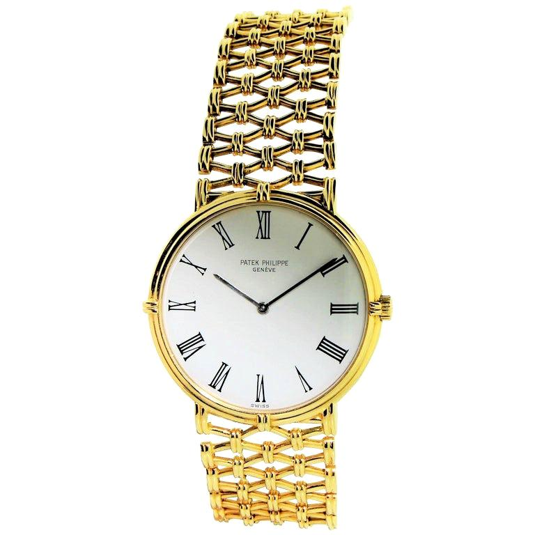 Patek Philippe Yellow Gold Screw Back Bracelet Manual Watch, circa 1970s For Sale