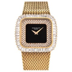 Patek Phillipe Vintage Baguette Diamond Onyx 18K Yellow Gold Watch Ref 3625-1