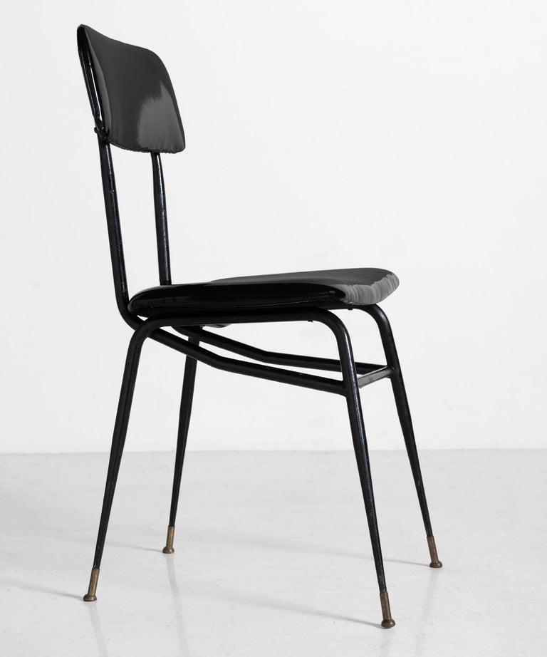 Italian Patent Leather Dining Chair, Italy, circa 1950 For Sale