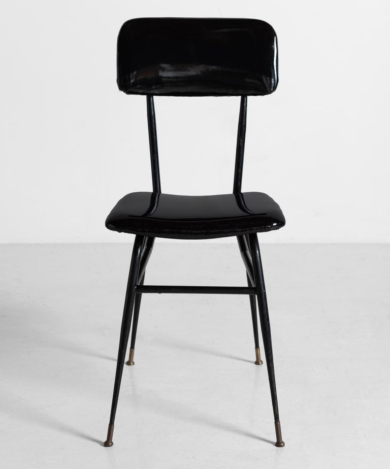 Patent Leather Dining Chair, Italy, circa 1950 In Excellent Condition For Sale In Culver City, CA