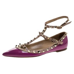 Patent Leather Rockstud Double Ankle Strap Cage Ballerina Flats Size 38