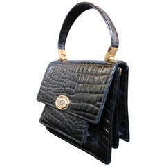 Patent Leather Stamped Vintage Handbag with Gold Hardware