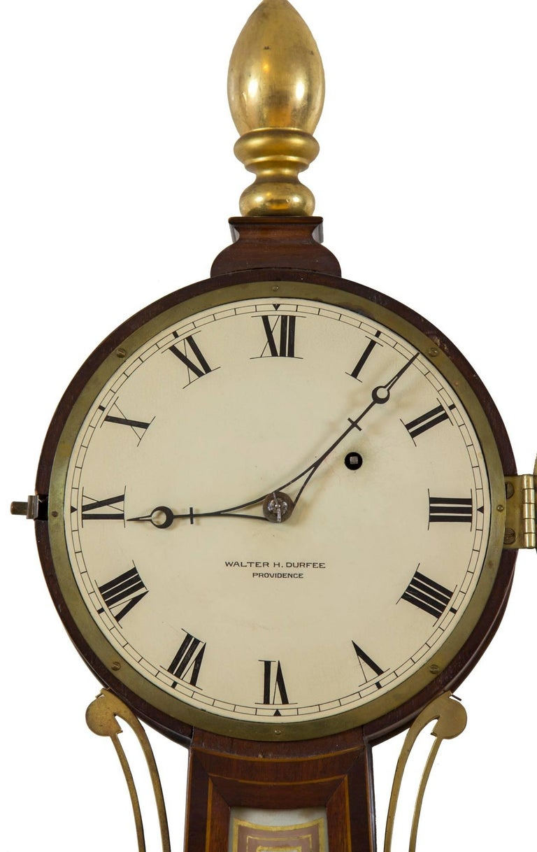 Neoclassical Patent Timepiece Banjo Clock, Providence, RI by Walter H. Durfee, circa 1900 For Sale