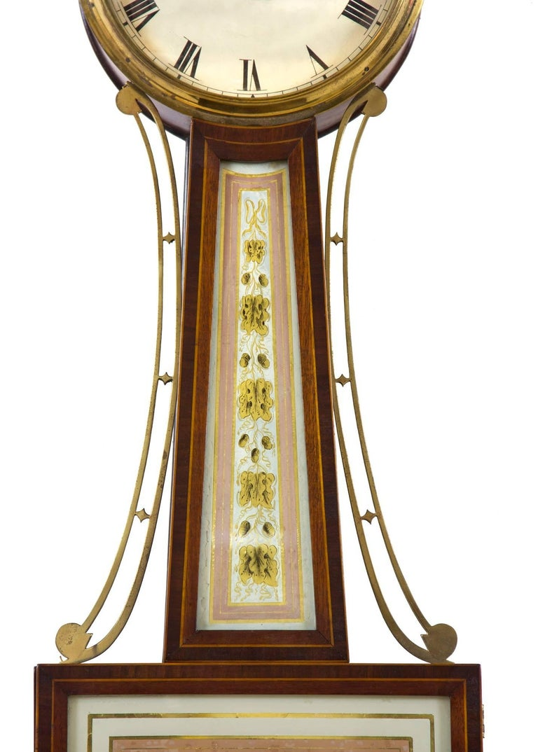 American Patent Timepiece Banjo Clock, Providence, RI by Walter H. Durfee, circa 1900 For Sale