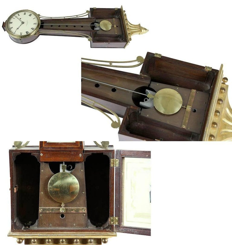 Mahogany Patent Timepiece Banjo Clock, Providence, RI by Walter H. Durfee, circa 1900 For Sale