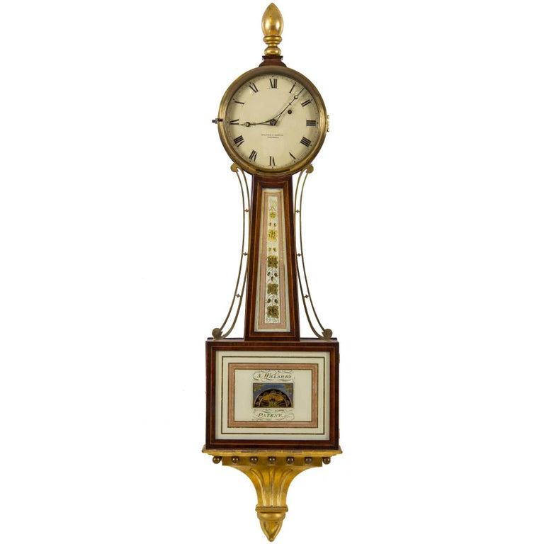 Patent Timepiece Banjo Clock, Providence, RI by Walter H. Durfee, circa 1900 For Sale