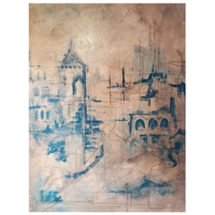 Pathstone, 2018, Architectural Abstract Mixed-Media Painting, Blue and White
