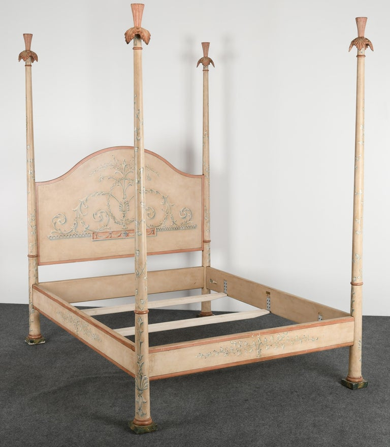 A Queen size Bohemian Italian painted poster bed by Patina Furniture Company, makers of fine painted furniture. Good condition with some paint flaking as shown in images. Age-appropriate wear. This poster bed was approximately $3,000 new.