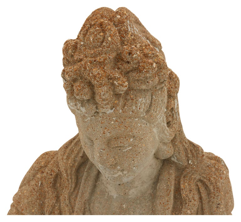 Cast Patinated Cement Buddha Statue For Sale