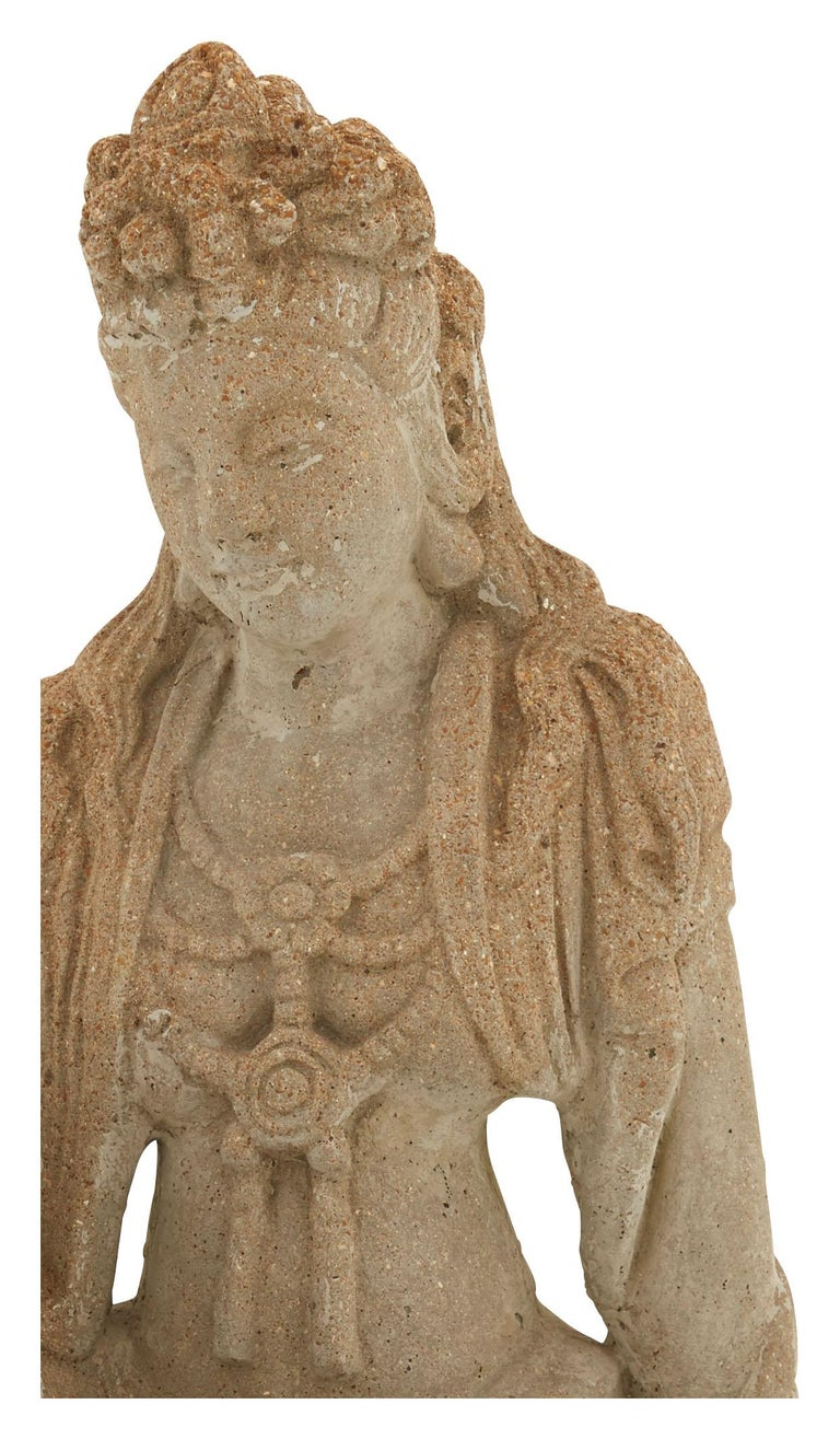 Patinated Cement Buddha Statue In Good Condition For Sale In Chicago, IL