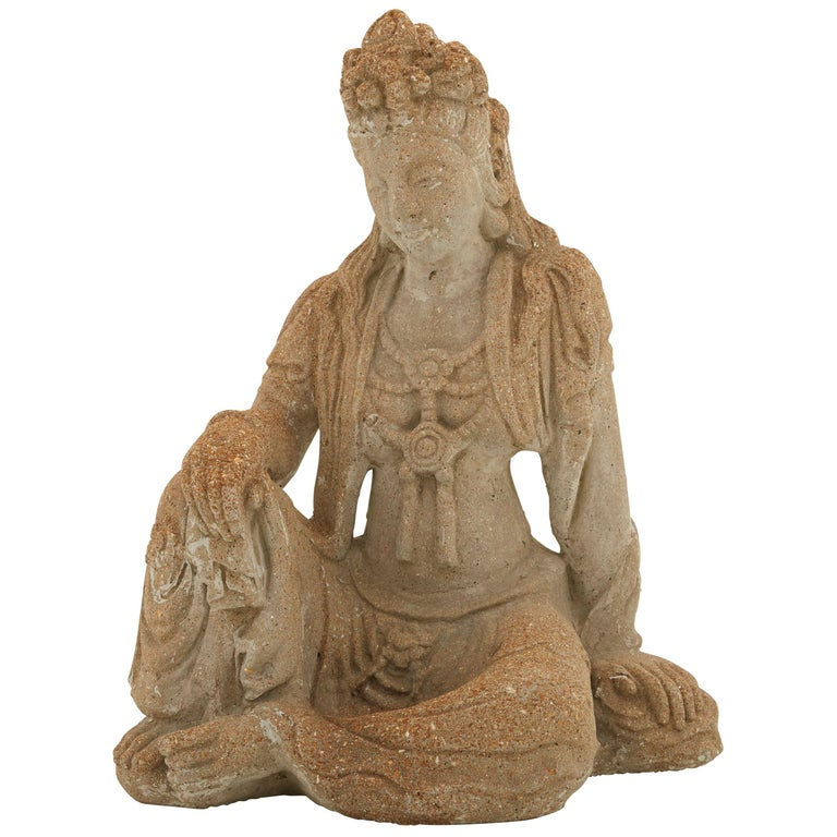 Patinated Cement Buddha Statue For Sale