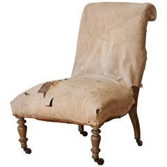 Patinated 19th Century French Slipper Chair