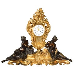 Patinated and Gilt Bronze Mantle Clock, Marquis, Paris, France, 19th Century