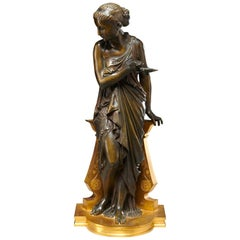 Patinated and Gilt Bronze Sculpture of a Vestal Virgin by Auguste Peiffer
