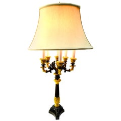 Patinated and Gilt Bronze Six Candle French Empire Candelabra Lamp