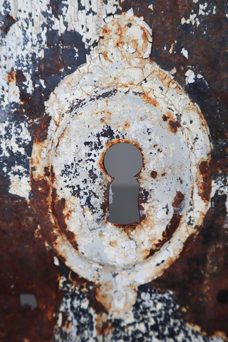 Patinated Antique Industrial Iron Door, France, 19th Century In Good Condition For Sale In Almelo, NL