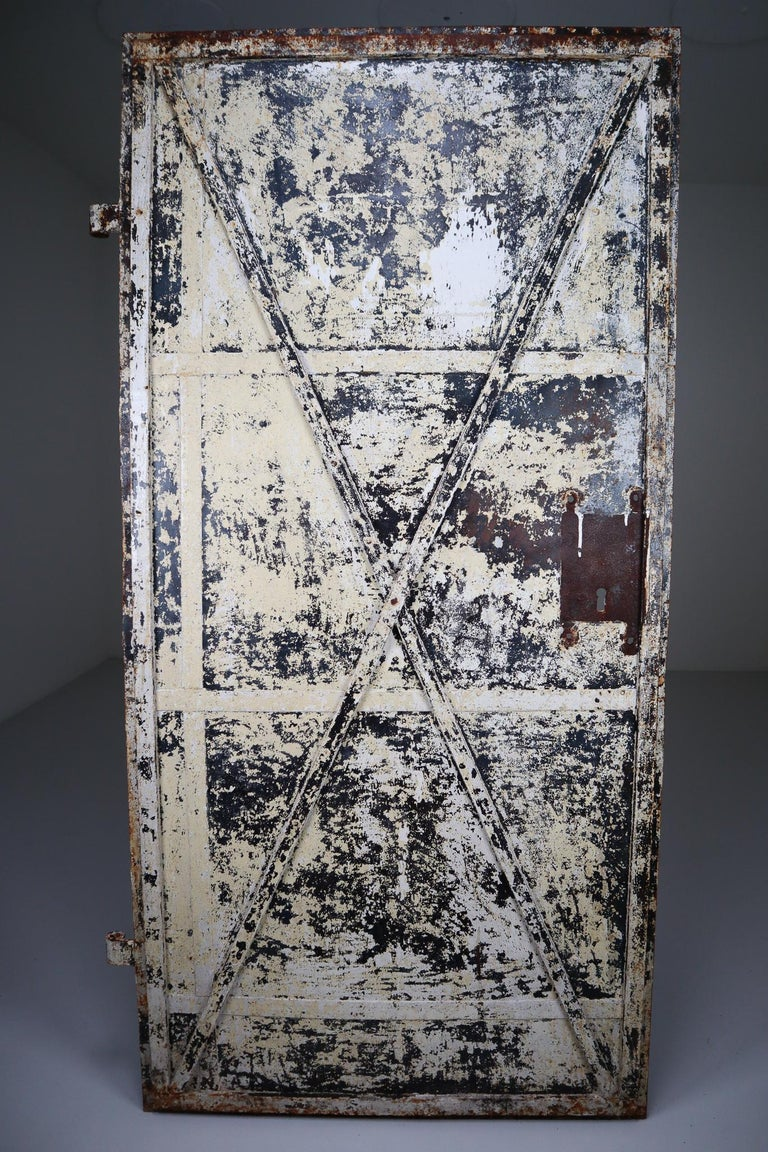 Patinated Antique Industrial Iron Door, France, 19th Century For Sale 2