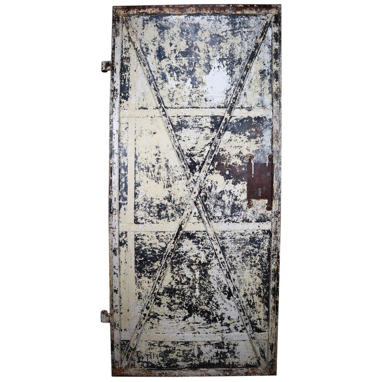 Patinated Antique Industrial Iron Door, France, 19th Century For Sale