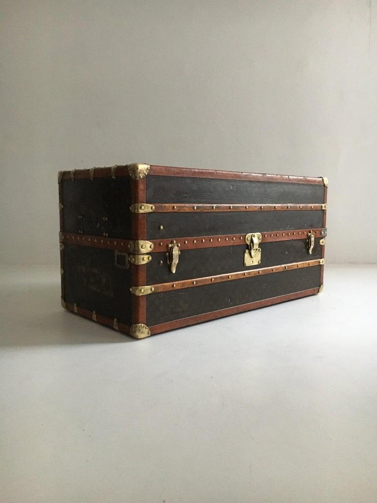 Patinated antique Louis Vuitton double wardrobe trunk, France, 1920.