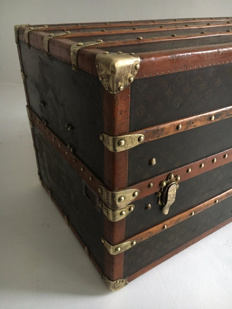 French Patinated Antique Louis Vuitton Double Wardrobe Trunk, France, 1920 For Sale
