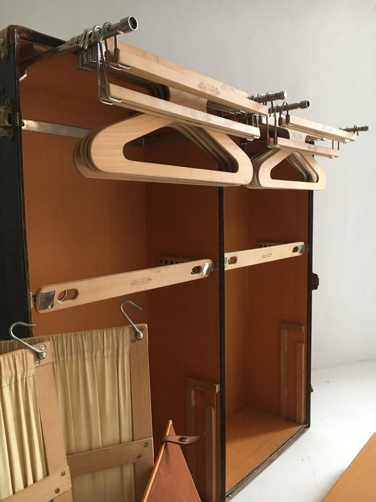 Metal Patinated Antique Louis Vuitton Double Wardrobe Trunk, France, 1920 For Sale