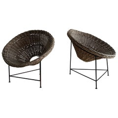 Patinated Basket Patio Lounge Chairs a Pair, Austria, 1950s
