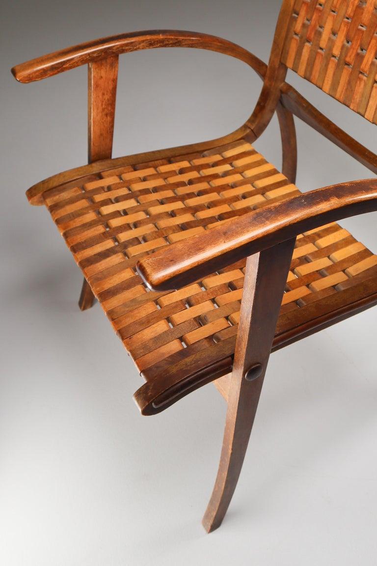 German Patinated Bauhaus Lounge Chair by Erich Dieckmann for Gelanka Tyskland, 1930s For Sale
