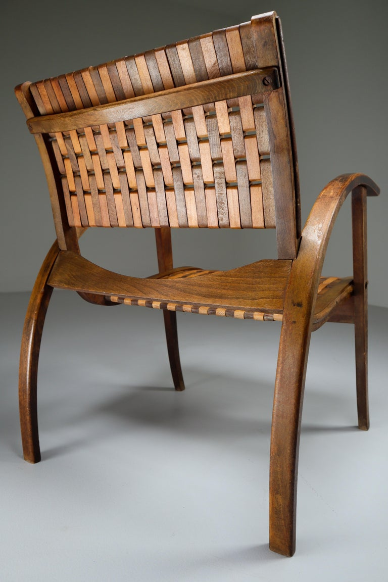 Patinated Bauhaus Lounge Chair by Erich Dieckmann for Gelanka Tyskland, 1930s In Good Condition For Sale In Almelo, NL