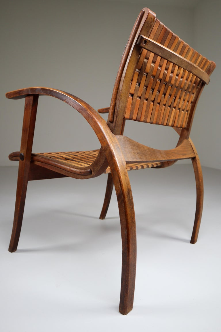 Bentwood Patinated Bauhaus Lounge Chair by Erich Dieckmann for Gelanka Tyskland, 1930s For Sale
