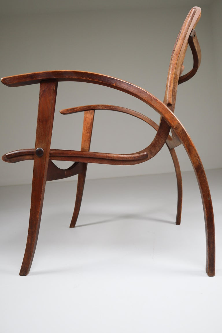 Patinated Bauhaus Lounge Chair by Erich Dieckmann for Gelanka Tyskland, 1930s For Sale 1