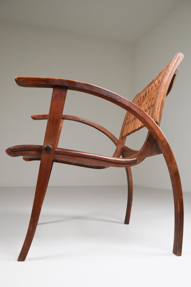Patinated Bauhaus Lounge Chair by Erich Dieckmann for Gelanka Tyskland, 1930s For Sale 2