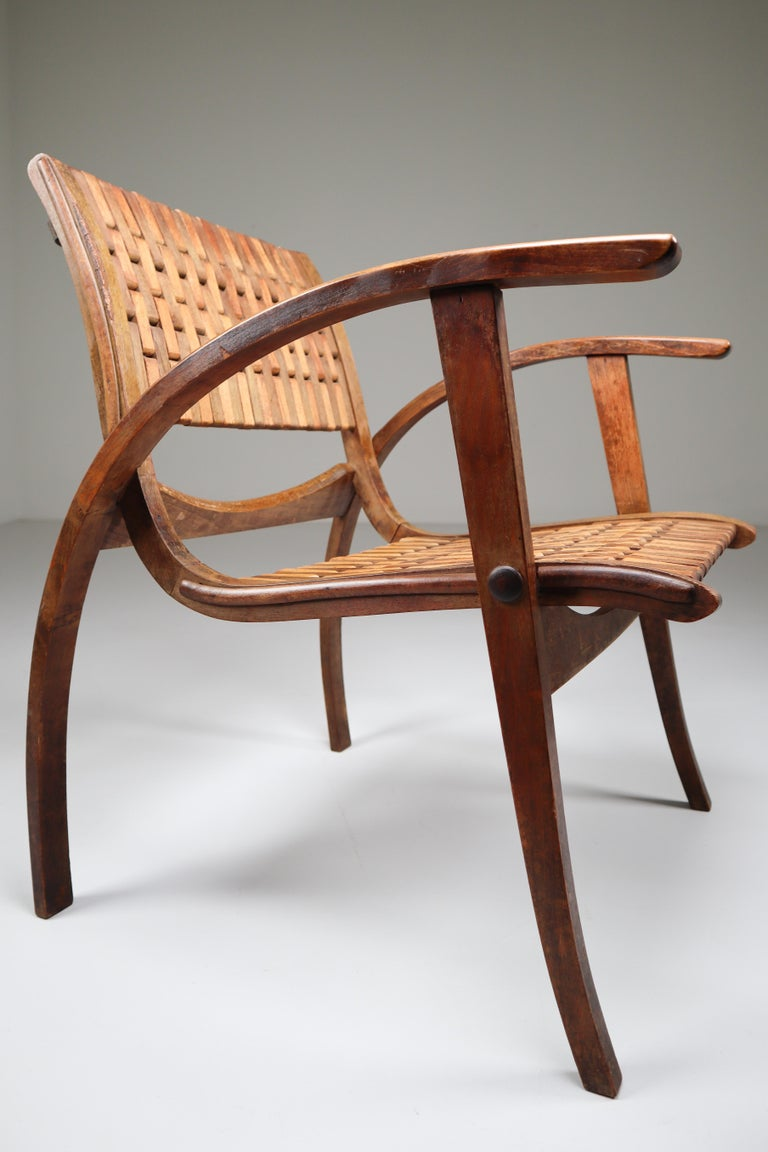 Patinated Bauhaus Lounge Chair by Erich Dieckmann for Gelanka Tyskland, 1930s For Sale 3