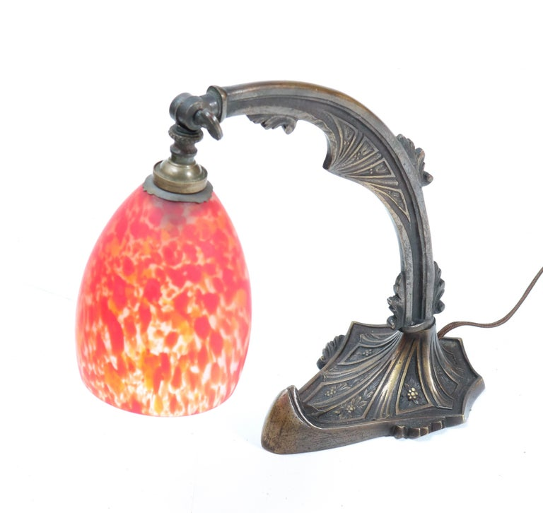 Early 20th Century Patinated Brass Art Deco Amsterdam School Table Lamp, 1920s For Sale