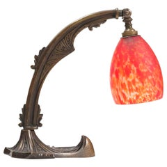 Patinated Brass Art Deco Amsterdam School Table Lamp, 1920s